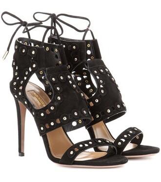cut-out embellished sandals suede black shoes