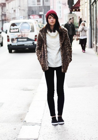 mes memos blogger leopard print knitted sweater beanie