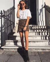 shoes,boots,leather boots,mini skirt,leopard print,white t-shirt,oversized t-shirt,round sunglasses,earrings,watch,shoulder bag