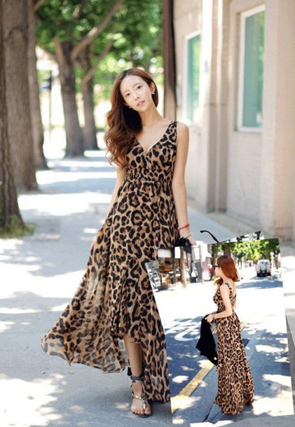 68fc56b1ae3598 dress maxi v neck sleeveless leopard print sleeveless dress