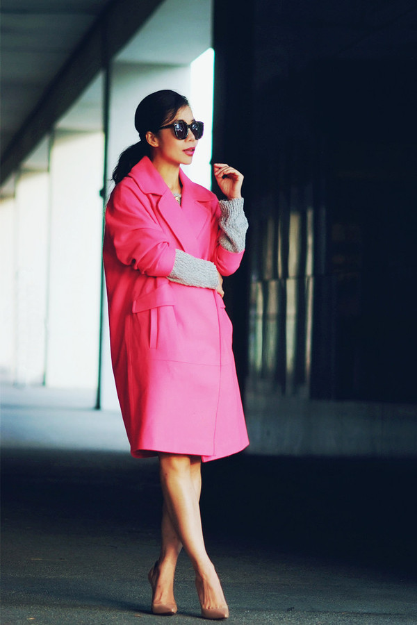 hallie daily coat sunglasses pink coat shoes sweater jewels pink winter outfit black sunglasses masculine coat