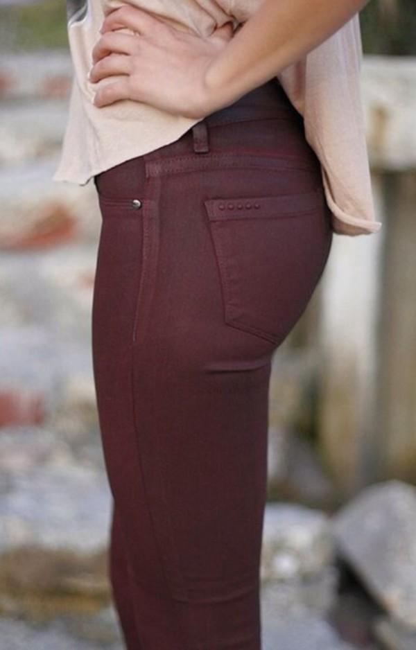 jeans burgundy skinny jeans jeggings oxblood skinnies fall outfits wine color pants