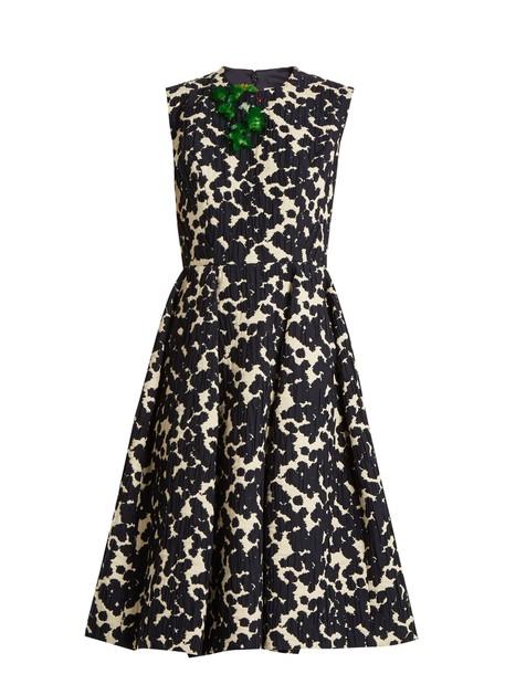 DELPOZO dress embellished floral cotton navy print