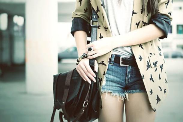 shorts blazer belt women shoulder bags jacket birds coat birds pretty cute tumblr hipster