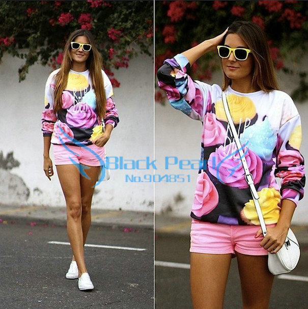 Fashion 2014 Women The Cake Pullovers Funny 3D Sweatshirts Food ...