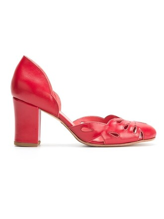 heel chunky heel women pumps red shoes