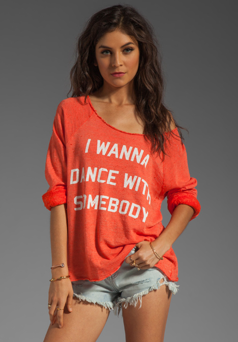WILDFOX COUTURE Dance with Somebody Off the Shoulder Sweatshirt in Valley Heat at Revolve Clothing - Free Shipping!