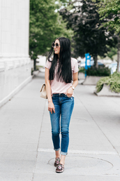 t-shirt,tumblr,pink t-shirt,denim,jeans,blue jeans,shoes,mules,bag,sunglasses