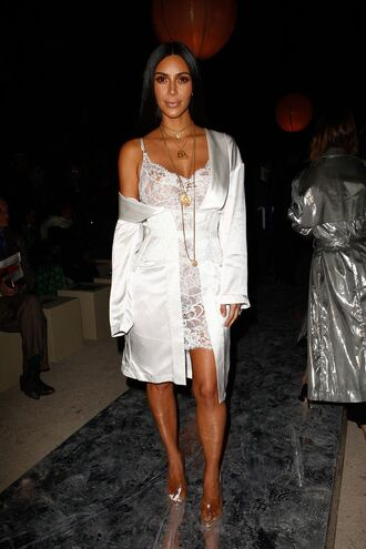 dress kim kardashian white sandals camisole kardashians paris fashion week 2016 robe corset lace lingerie lingerie pajamas
