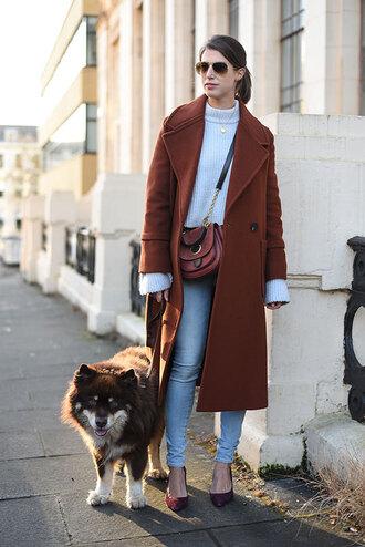thank fifi blogger sweater bag coat jeans shoes jewels crossbody bag fall outfits pumps high heel pumps
