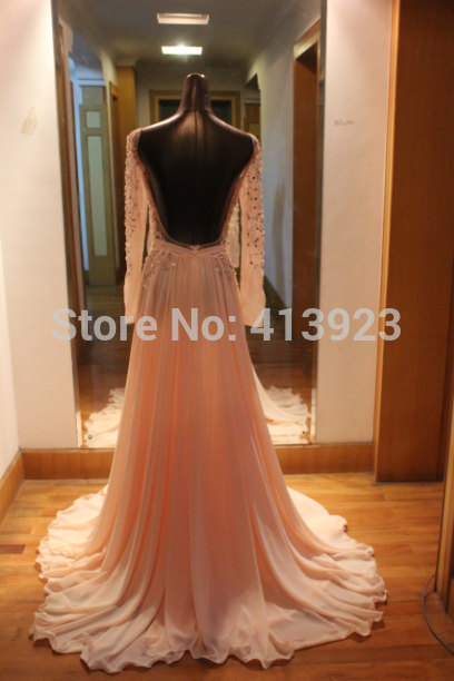 Aliexpress.com : Buy Free Shipping 2014 New Style Custom Made Baby Pink Long Sleeve Open Back Sexy Prom Dress Evening Dress For Sale from Reliable dresses for big hips suppliers on Chaozhou City Xin Aojia dress Factory