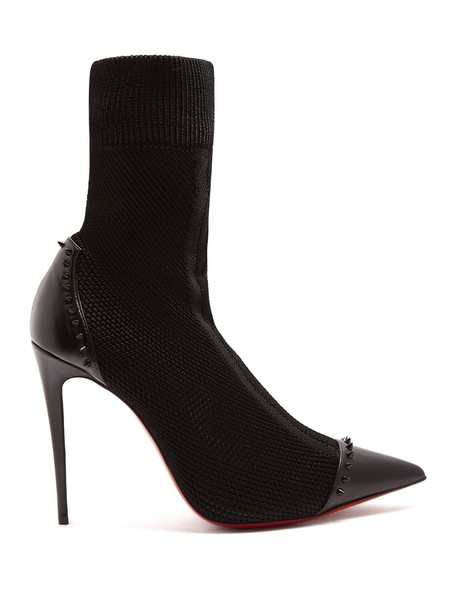 christian louboutin sock boots embellished black shoes