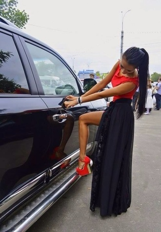 dress blouse long skirt shoes red wedges heels high heels red high heels black maxi skirt