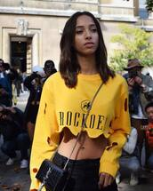 top,yellow,crop tops,sweater,holes,hair,fashion,style,stylish,cool,grunge,streetstyle,cute,fire,slay,love,like,tumblr,model,off duty,pretty,instagram,post,social media,body goals,body,chill,vibes,brunette,ripped sweater,yellow sweater,fabulous,asthetic