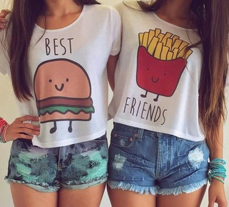 shirt bff t-shirt funny sweater style trendy shrt tshirt design tshirt. hamburger fries burger and fries top gloves earphones frites girl cute friends best friend shirts blouse bff shirts denim shorts white top graphic tee burger tee best friend bag shorts top food where to get this shirt? summer white t-shirt