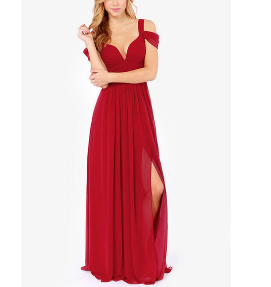off the shoulder red maxi dress floor length dress long dress prom homecoming gown ball gown sweetheart bust slit red carpet celeb dress chiffon