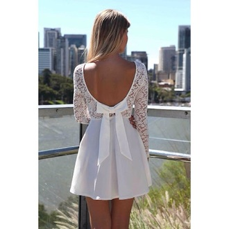 dress white dress scoop back dress low back dress bow dress lace dress