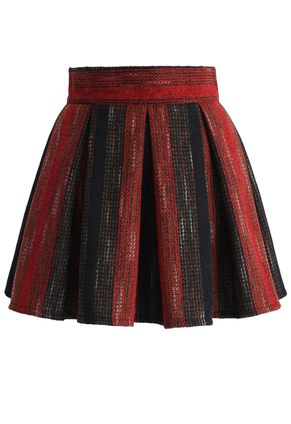 and black tweed pleated mini skirt retro