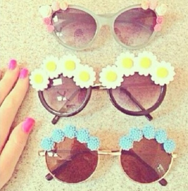 sunglasses summer floral retro sunglasses pink funny girly pretty cute sunflower flowers pastel