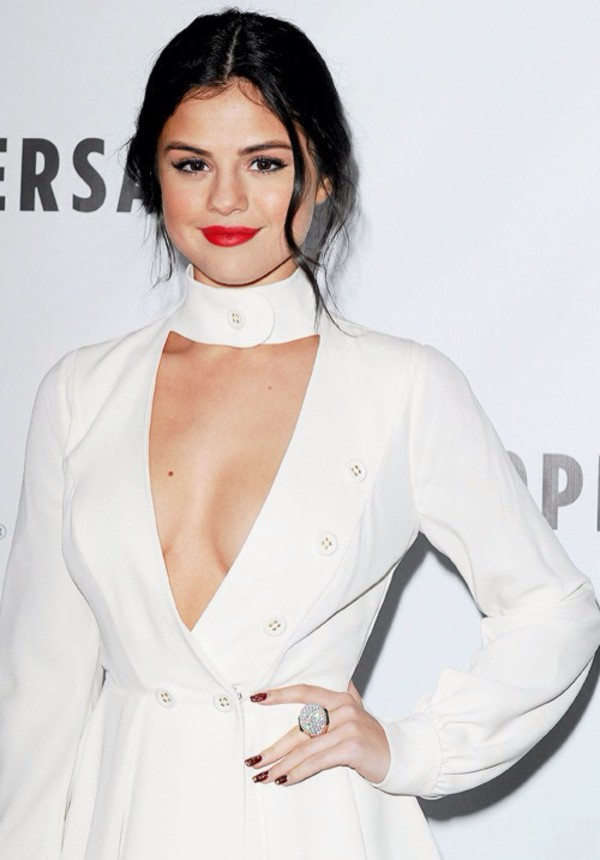 dress white dress white selena gomez make-up fashion fashionista beautiful red lipstick hairstyles face makeup