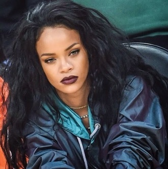 coat rihanna jacket bomber jacket jersey rihanna jacket hoodie metallic black blue white green jewelry lipstick brows