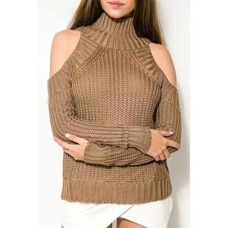 sweater off the shoulder turtleneck beige style winter sweater rose wholesale