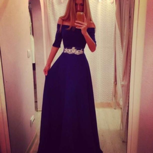 dress off the shoulder dress white trim blue dress long dress blue navy long prom gown off shoulder