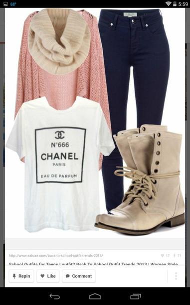 blouse chanel t-shirt shoes