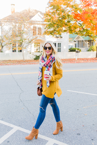 cortinsession blogger sweater scarf jeans shoes bag jewels sunglasses fall outfits yellow sweater ankle boots