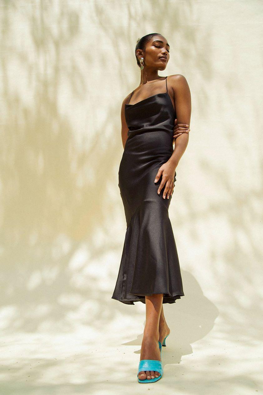 Robi Cowl Neck Dress Black