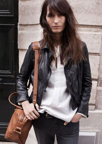 bag caroline de maigret model fashionista brown bag shirt white shirt jeans black jeans jacket leather jacket black jacket office outfits fall outfits