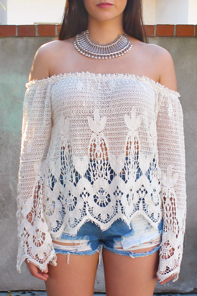 Moonlight gypsy crochet off shoulder top – luv mint
