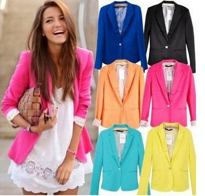 2014 New Spring Candy Color women brand outerwear coats Single Button Womens Blazers fashion slimming Suits basic jacket Coat   Amazing Shoes UK