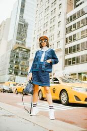 olivia lazuardy,blogger,hat,sunglasses,skirt,bag,shoes