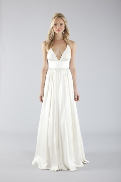 Simple Hippie Wedding Dresses simple gown ivory wedding