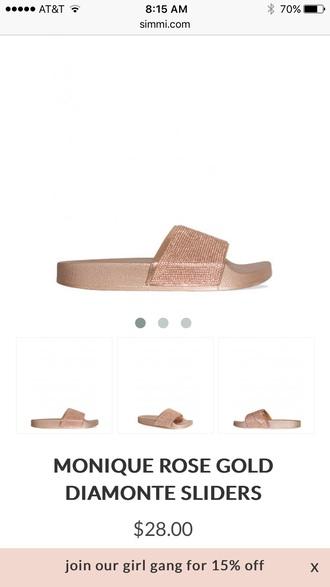shoes rose gold slide shoes shiny sandals metallic shoes