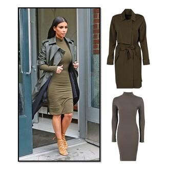 coat khaki summer outfits fashion stunning plain love this kim kardashian dress