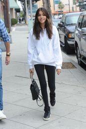 sweater,leggings,purse,madison beer,sneakers,hoodie