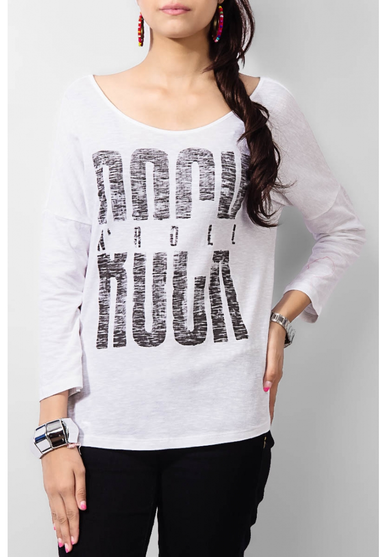 White Cotton Rock N Roll Printed T-shirt