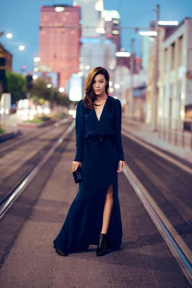 long sleeve dress long dress tsangtastic blogger blackboots