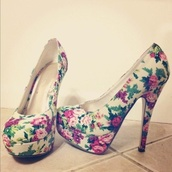 shoes,floral,heels,high heels,flowers,flower high heels,floral heels,floral pumps,floral print shoes,pink flowers,purple flowers,white heels with floral print