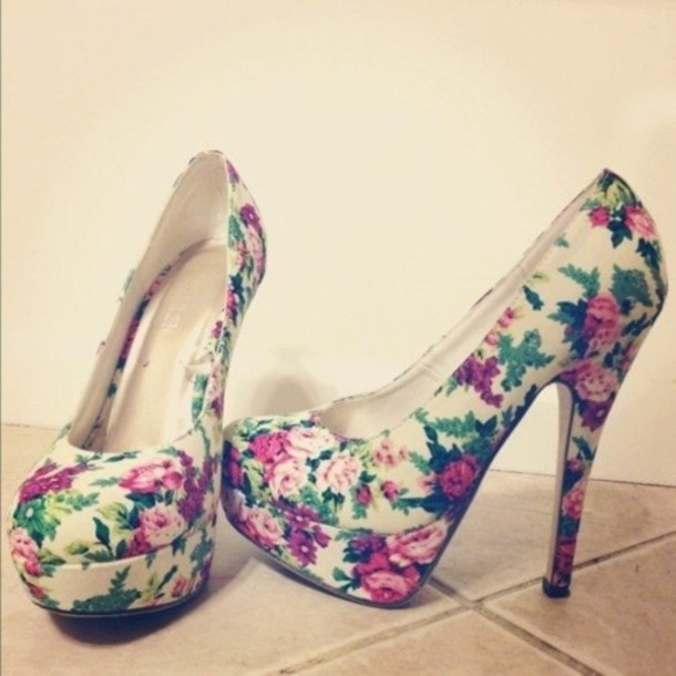 Shoes: floral, heels, high heels, flowers, flower high heels ...