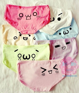 underwear cute kawaii japanese cutegirly anime pink green blue yellow white purple fashion style expression undies panties