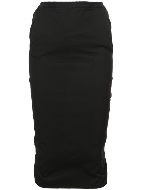 Rick Owens skirt pencil skirt women midi spandex layered cotton black