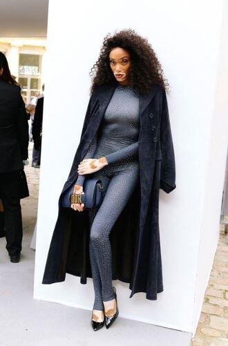 pants coat winnie harlow model off-duty top fall outfits paris fashion week 2017 leggings