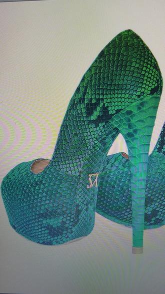 shoes heels green green heels green snake heels snakeprint high heel pumps platform pumps