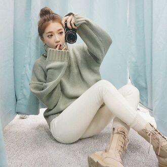 sweater oversized sweater oversized grey grey sweater knitwear knit knitted sweater turtleneck turtleneck sweater ulzzang korean fashion korean style korean street fashion korean street style asian asian fashion