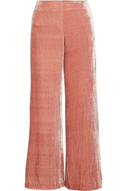 pants wide-leg pants rose velvet