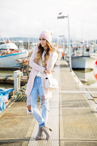 vickys style blogger jacket top bag jewels baby pink cardigan ripped jeans peep toe boots beanie jeans