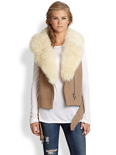 Rebecca Taylor - Stretch-Wool & Shearling Moto Vest - Saks.com